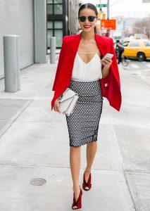 Jamie-Chung-red-blazer-tank-top-and-pencil-skirt